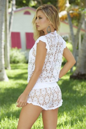 Combishort Mailles Blanc Style 7701 - Pink Monkey